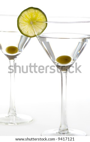two martini glasses isolated on white