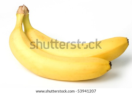 Two mature bananas, on white background. With clipping path. - stock photo