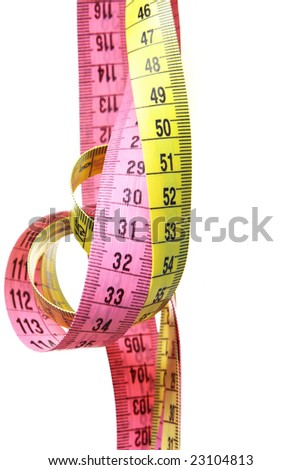 Two measuring tapes isolated over white background