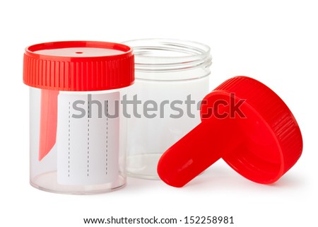 Two medical containers for biomaterial. Isolated on a white. - stock photo