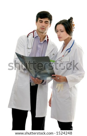 Two medical healthcare workers discuss patient's x-ray result.