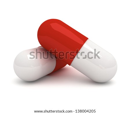 two medical pills 3d illustration isolated on the white - stock photo