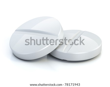 two medical pills - tablets 3d illustration isolated on the white - stock photo