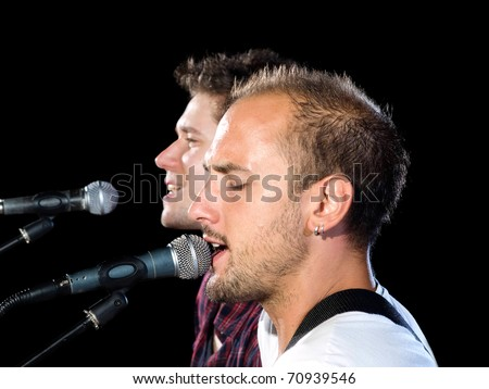 """Two members of the musical band """"Prezzident"""" from Croatia. - stock photo"""