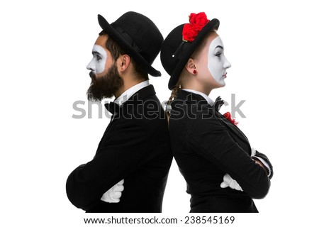 Two memes looking in different directions - stock photo