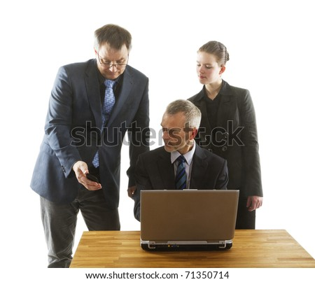 Two men and a woman in an office with laptop and smart phone for a meeting. On white background.