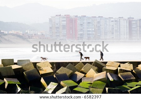 two men and their dogs taking a walk by the levee, with the sea and buildings to the bottom - stock photo