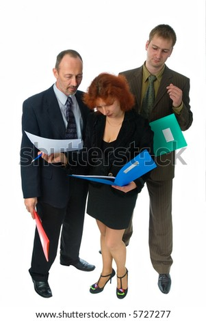 two men and woman in office clothes reading business papers with folders in hands, isolated on white