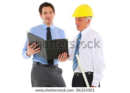 two men architects with helmet and plan