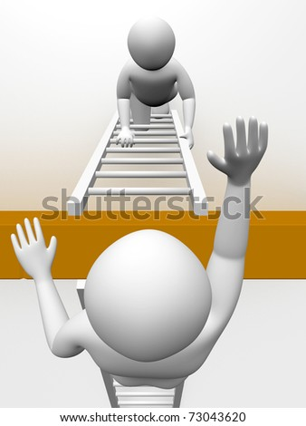 Two men are climbing the wall with ladders. Concept of effort - stock photo