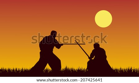 Two men are occupied with aikido against the yellow sky - stock photo