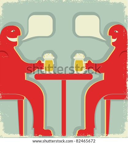 Two men are sitting with glasses of beer who toast.Vintage poster.Raster
