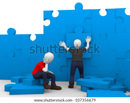 Two men are solving a puzzle in blue - stock photo