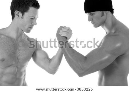 Two men arm wrestling. - stock photo