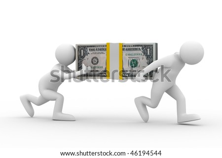 two men carry dollars. Isolated 3D image - stock photo