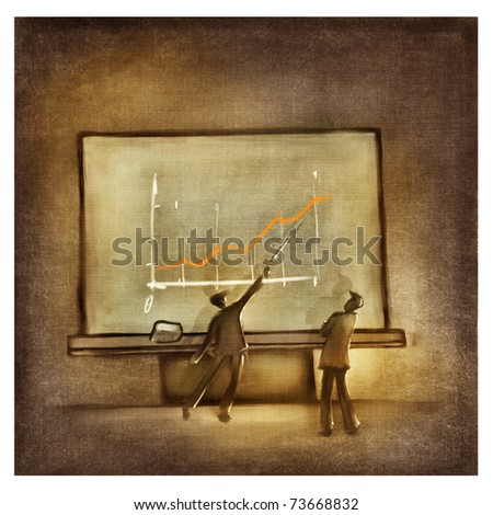 two men discussing the chart at the business presentation (stylized) - stock photo