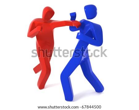 two men fighting - stock photo