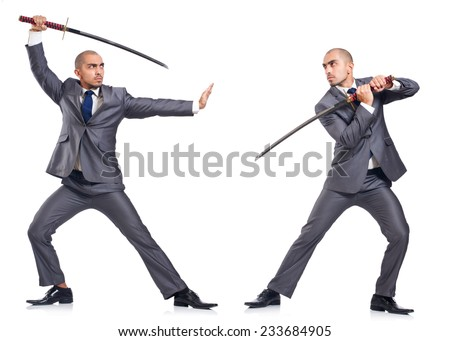 Two men fighting with the sword isolated on white - stock photo