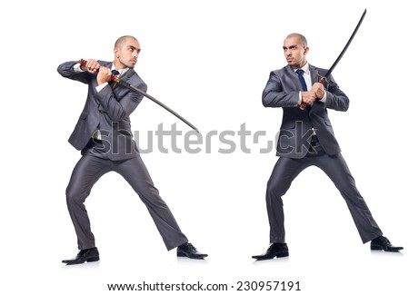 Two men figthing with the sword isolated on white - stock photo