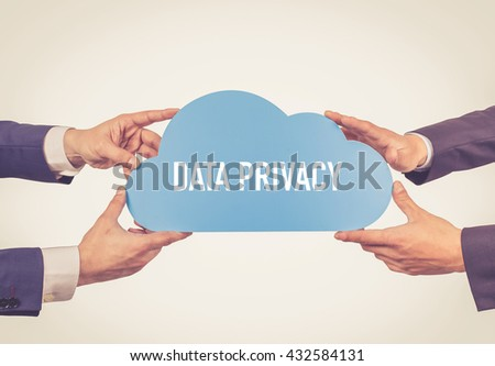 Two men holding cloud with Data Privacy text - stock photo