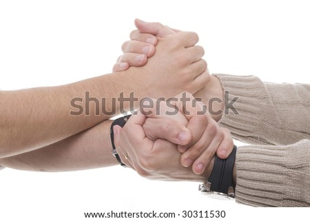 two men holding hands and helping each other
