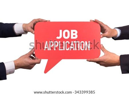 Two men holding red speech bubble with JOB APPLICATION message - stock photo