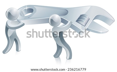 Two men holding wrench ready to build, repair or adjust settings - stock photo