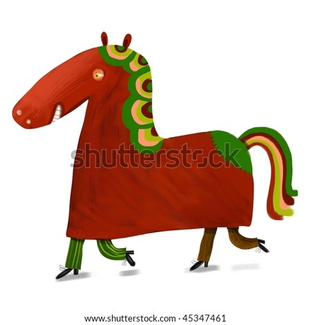 Two men in a horse costume - stock photo
