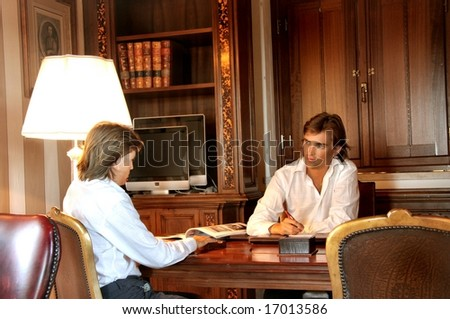 two men in a studio - stock photo