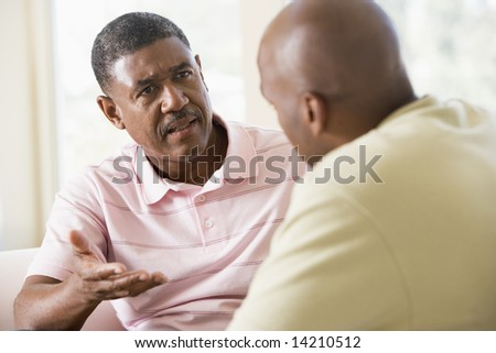 Two men in living room talking - stock photo