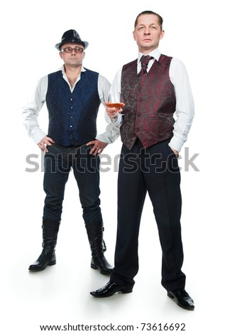 Two men in vests with a white background - stock photo