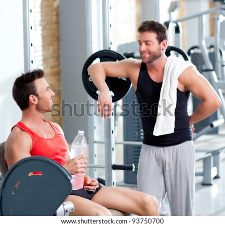 two men on a sport gym relaxed after fitness sport