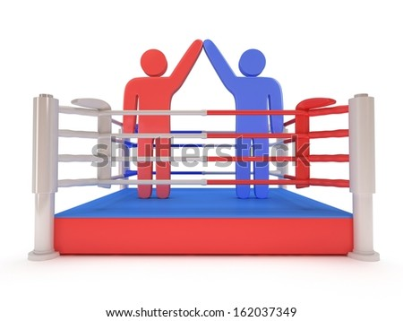 Two men on boxing ring. High resolution 3d render. Sport, competition, match, arena, praise concept. - stock photo