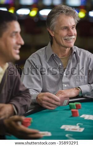 Two Men Playing Blackjack - stock photo