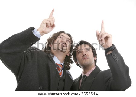 two men point the finger with respect to the high one... - stock photo
