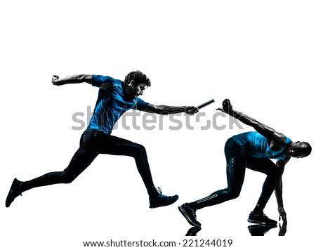 two men relay running sprinting in silhouette studio isolated on white background - stock photo