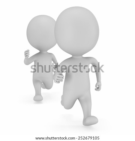 Two men running. 3D render isolated on white. Chase, fitness concept.