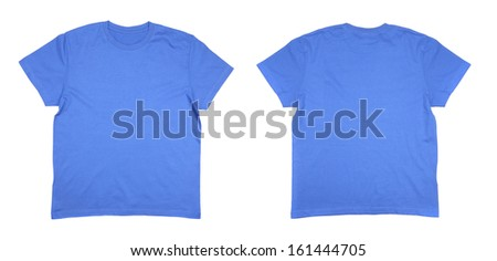 Two men's blue T-shirts. Isolated on a white background - stock photo