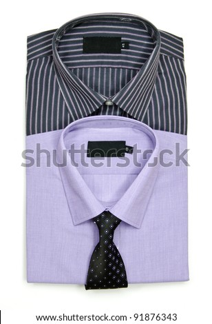 two men's shirts and ties: set for sale - stock photo