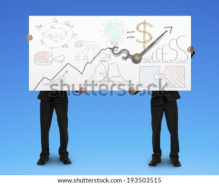 Two men standing and holding board with business doodles and clock hands - stock photo