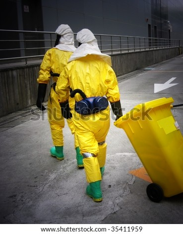 two men with  Personal Protective Equipment - stock photo