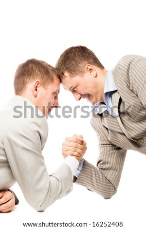 two men wrestling with arms, advantage business concept, white background - stock photo