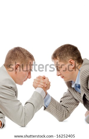 two men wrestling with arms, competition fight business concept, white background