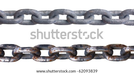 Two metal chains, isolated against background - stock photo