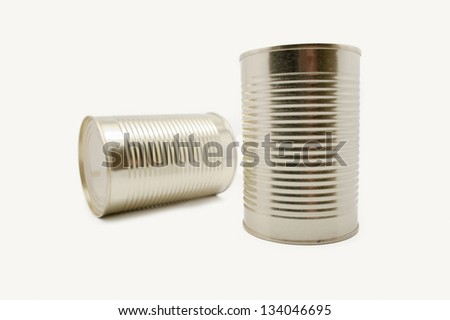 two Metal food container on white background