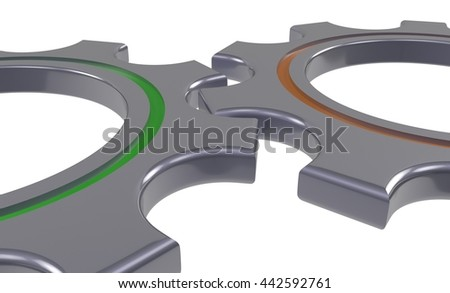 two metal gear wheel isolated white background - 3d illustration - stock photo