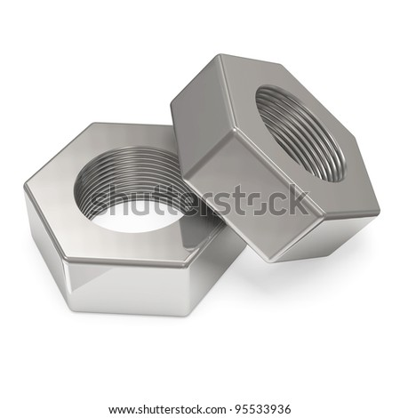Two metal Nuts isolated on white background - stock photo