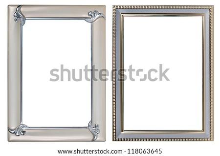 two metal photoframes on a white background. - stock photo