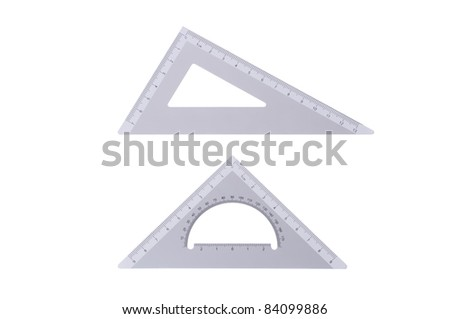 Two metal professional drafting triangles isolated - stock photo