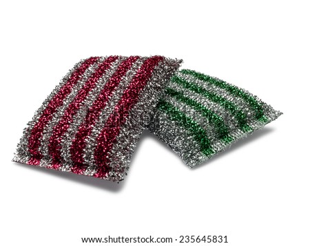 Two metallic colored kitchen sponges isolated on white background. - stock photo